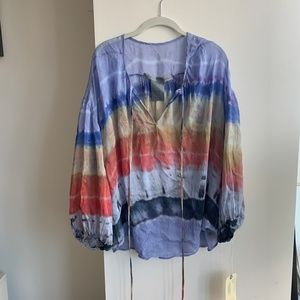*TAGS ON*Tie-dye silk tunic (Raquel Allegra size2)
